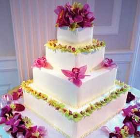 Square Wedding Cake Decorated with Flowers