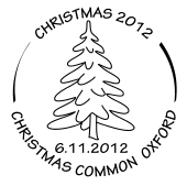 Postmark showing christmas tree.