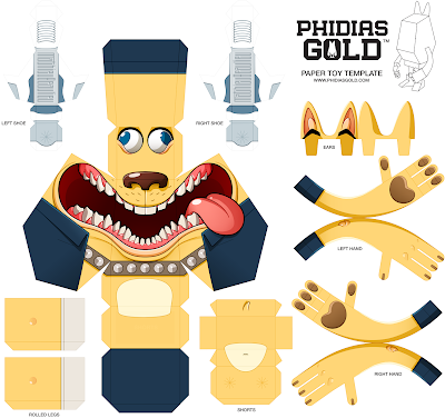 Mathieu Beaulieu Paper Toy Yellow Dog Template