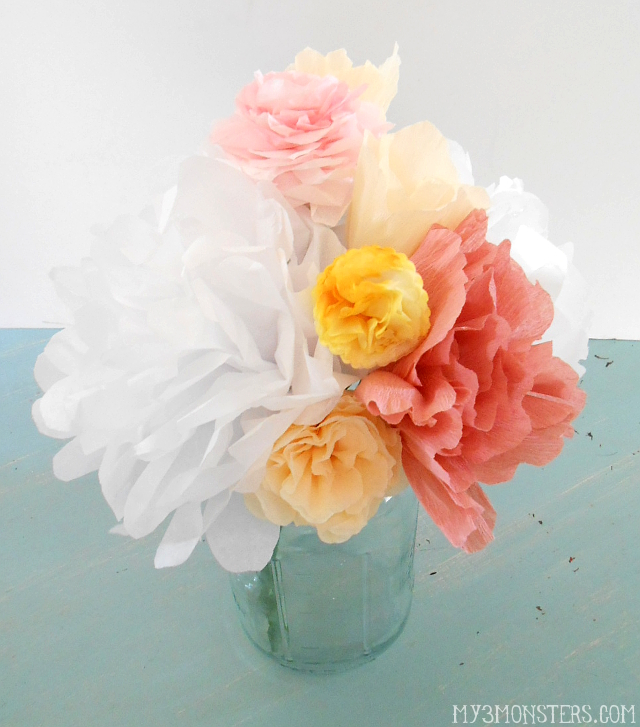 Dorable paper flower table centerpieces crest top wedding gowns my 3 monsters how to make life like paper flowers mightylinksfo
