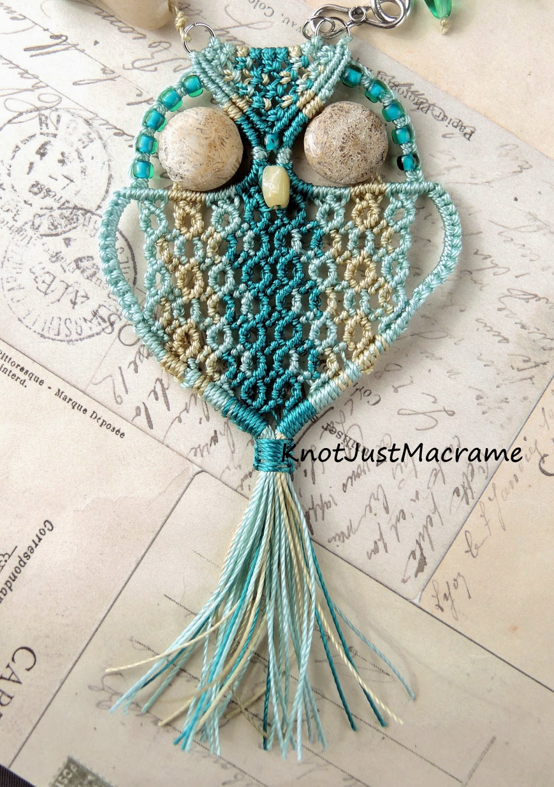 Turquoise and teal micro macrame owl