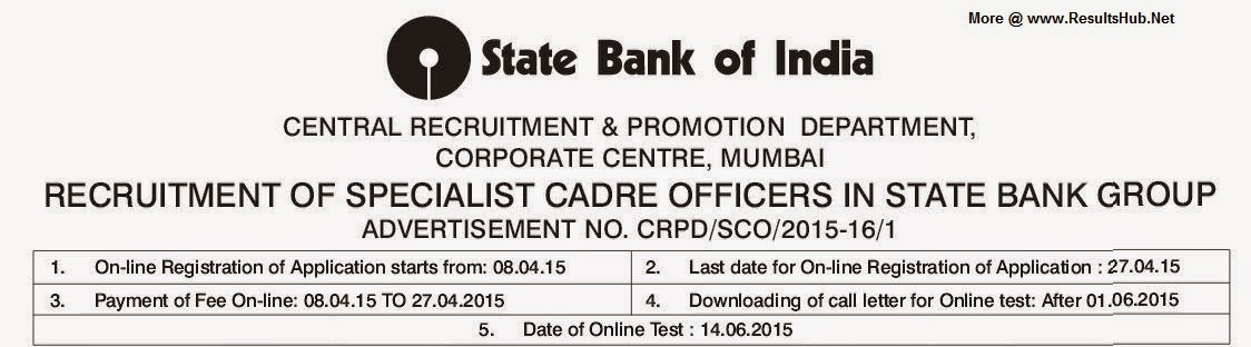 Specialist Cadre Officers Recruitment SBI April 2015