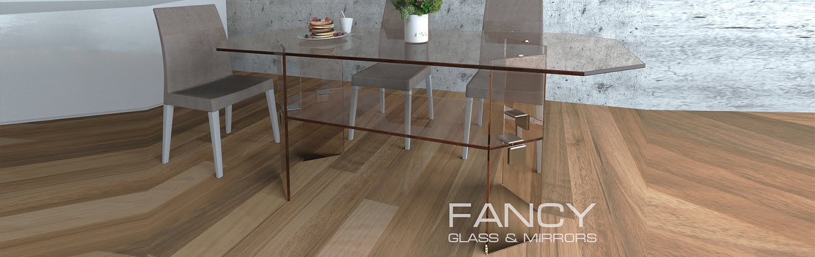 Interior with glass dining table with shelf