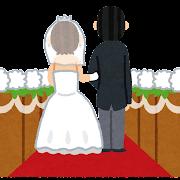 バージンロードを歩く花嫁と父親のイラスト(結婚式)