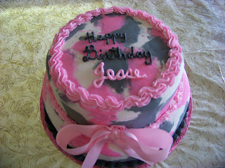 Beautiful Pink Camouflage Birthday Cake
