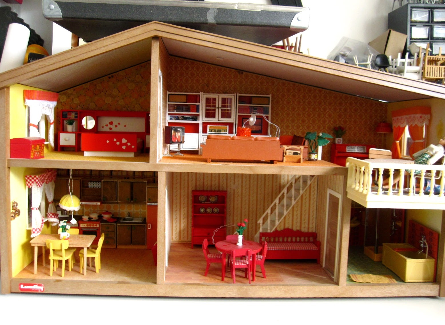 1975 Lundby dolls' house, furnished with vintage Lundby furniture.