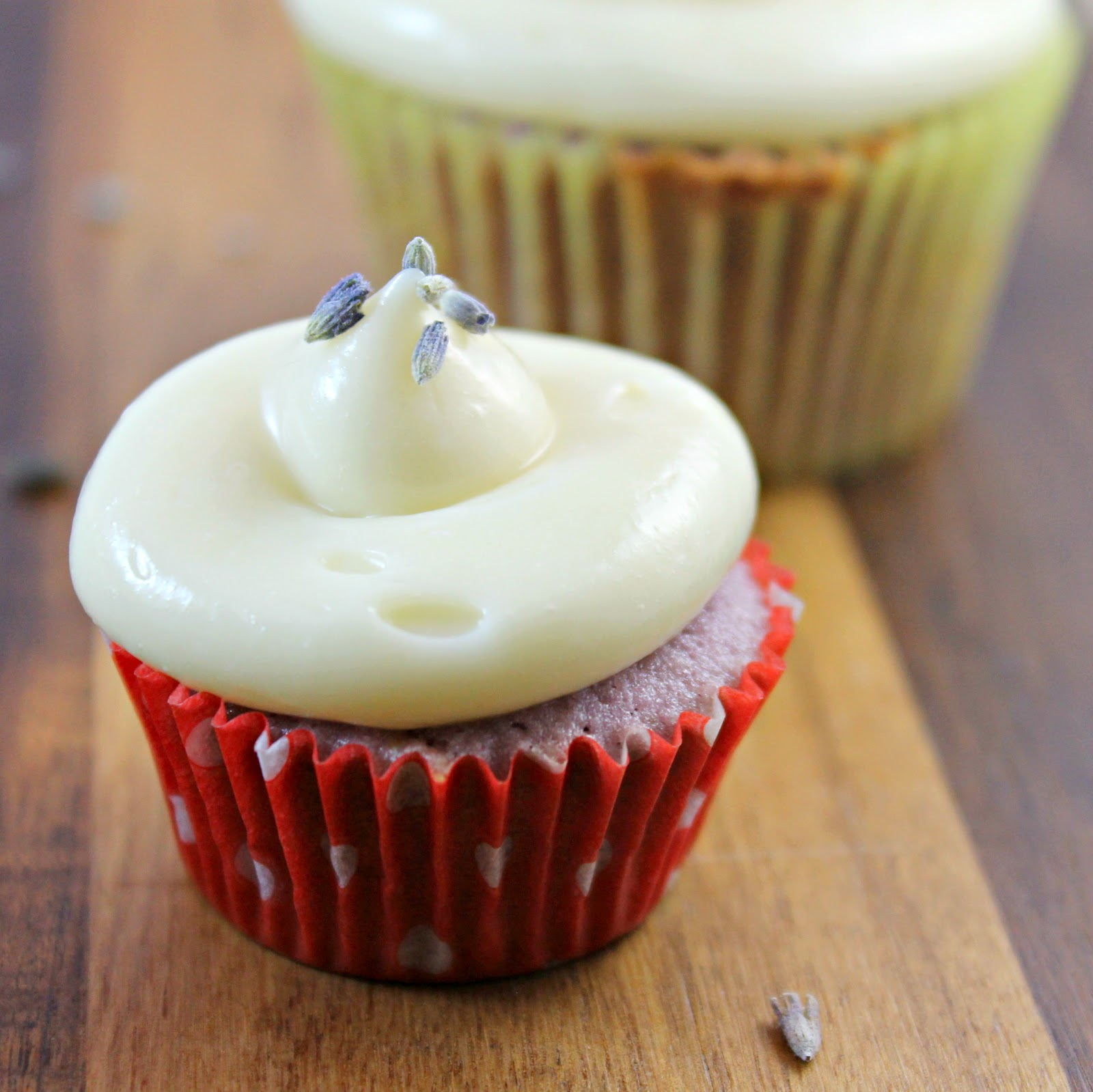 Almond Lavender Cupcakes with Honey Cream Cheese Frosting Recipe   I ...