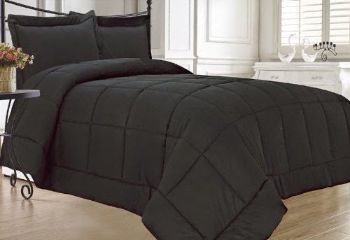 KingLinen Black Down Alternative Comforter Set Full - Queen