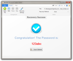 WinRAR Password Cracker allows you to recover/crack your lost password for WinRAR/RAR files easily and effectively. The application try to unlock your winrar file by two different ways. One is brute-force password recovery, which will test all possible combinations of characters. The other way is dictionary password recovery, which will test passwords from a carefully defined password lists. It is pretty easy to use, no skill needed.