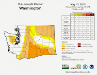 Extent of drought in Washington as of May 14, 2015. (Credit: U.S. Drought Monitor) Click to Enlarge.