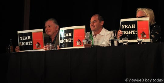 L-R: Tom Belford, publisher, Chris Joblin, Wairoa businessman, Rebecca Turner, chair, A Better Hawke's Bay, argued for the affirmative - Bubbles and Bites, The Amalgamation Debate - Is a unitary authority for Hawke's Bay the best thing for Wairoa's Future? - a fundraising debate hosted by Wairoa Young Achievers Trust, at The Gaiety Theatre, Marine Parade, Wairoa - second day of Wairoa Business Week, Wairoa photograph