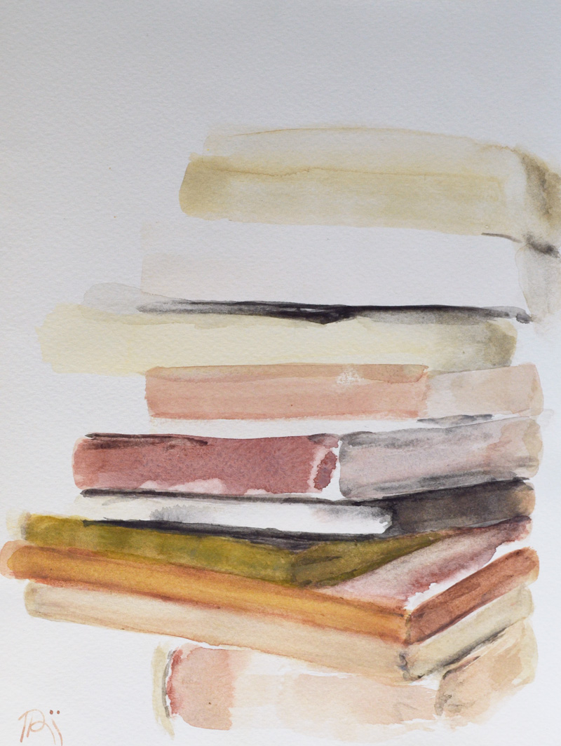 book pile painting, caramel, coffee, tea tones, realism, minimalism, contemporary art