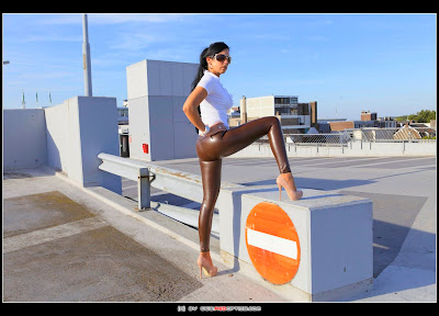 Stella Van Gent in Super Tight Slinkystylez Latex Pants and 5 inch heels