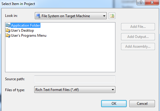 Add file to application folder in setup project