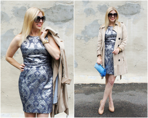 jacquard dress, trench coat, Sew Sarah R ombre bag