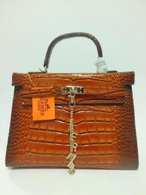 tas wanita terbaru, impor, import, tas branded Kelly Croco, Tas Kelly Croco warna coffee, image