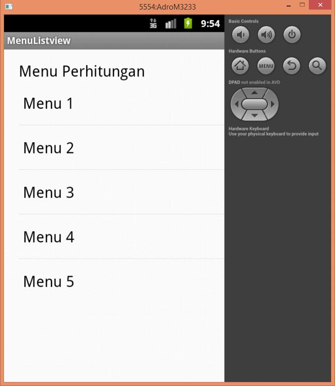Program Android Membuat Menu Menggunakan Listview Mesran