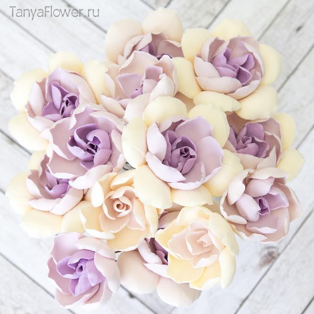 цветы ручной работы из полимерной глины для украшения прически