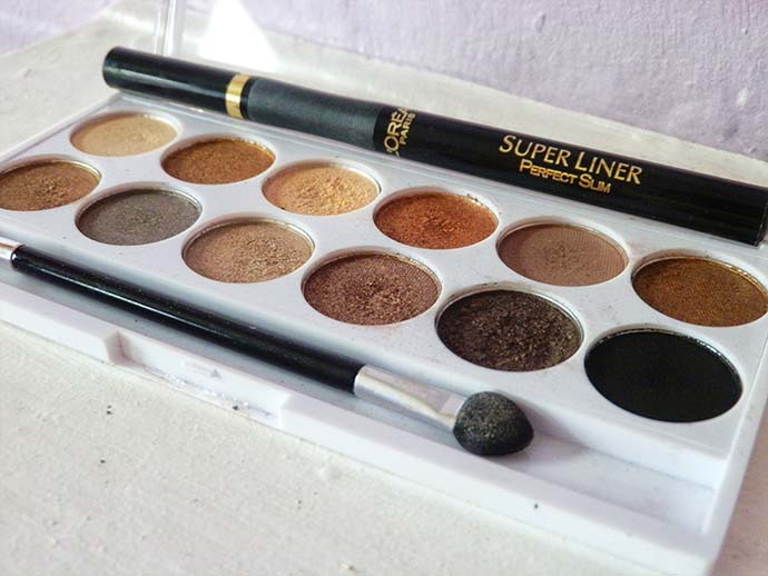 May 2013 Favorite eye shadows and eye liner MUA Undress Me Too Eye Shadow Palette and Loreal Super Liner Perfect Slim