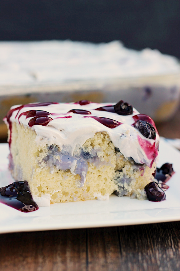Blueberries and Cream Poke Cake - Whats Cooking Love?