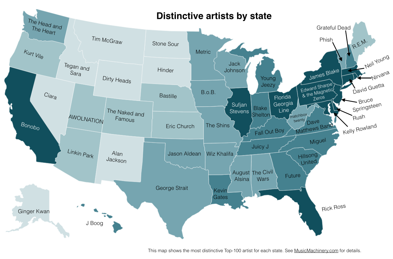 Distinctive artists by state -- for more details go to MusicMachinery.com