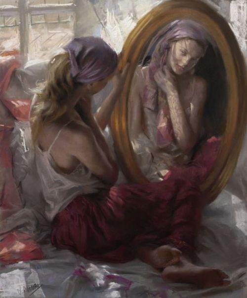 Vicente Romero pinturas mulheres impressionistas beleza Mulher se admirando no espelho