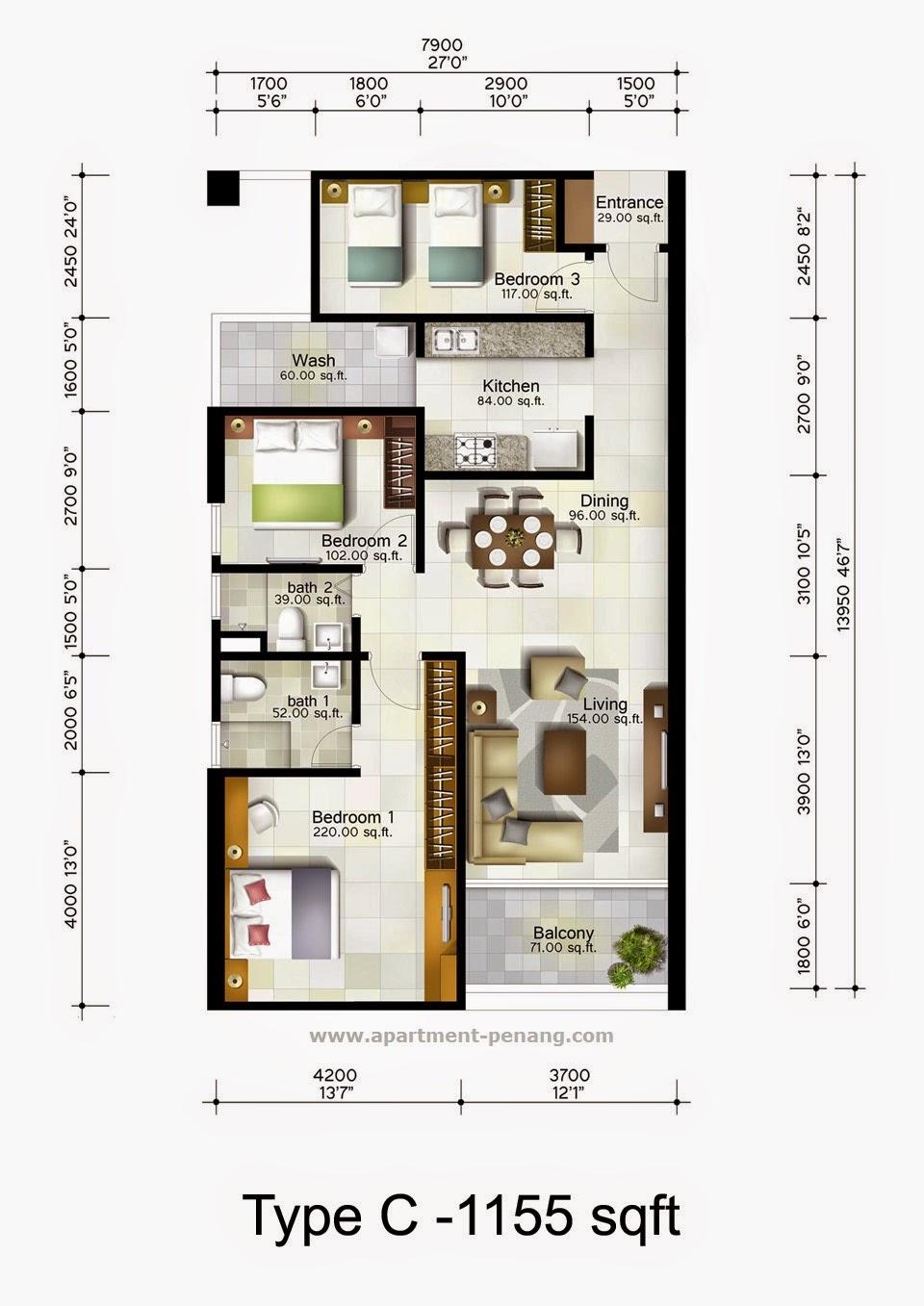 1 World Penang Floor Plan