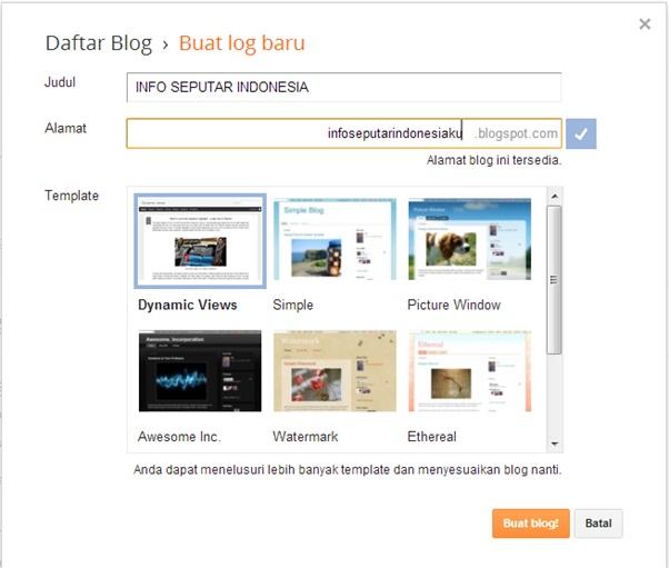 Pengaturan nama dan alamat blog