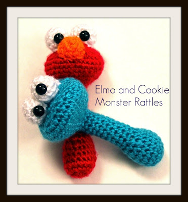 Elmo and Cookie Monster Baby Rattle