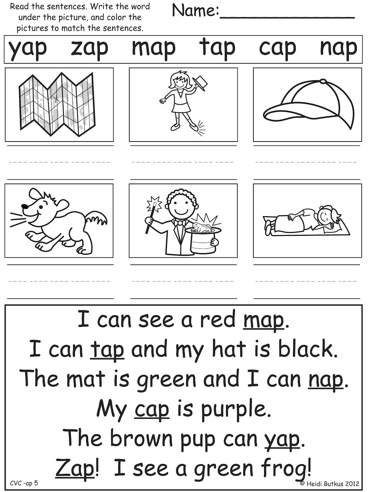 My kids take turns reading the sentences aloud on the fifth worksheet