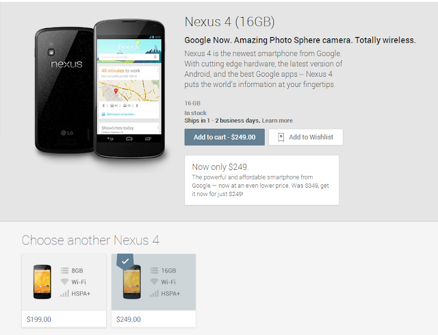 Google Nexus 4 Price Cut