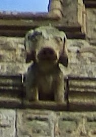 Dog face on church tower