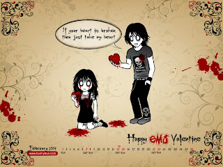 Happy EMO Valentine Dark Gothic Wallpaper