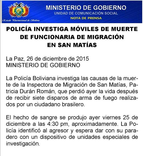 Anbolivia acribillan a inspectora de migraci n de san mat as for Ministerio de migracion