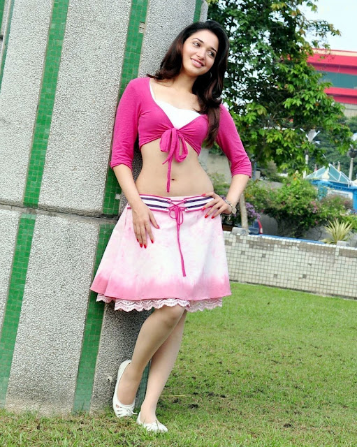 Tamanna in Baby Pink Blouse & Short Skirt with Flat white shoes