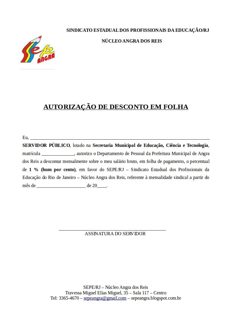 AUTORIZAÇÃO DESCONTO EM FOLHA REDE MUNICIPAL
