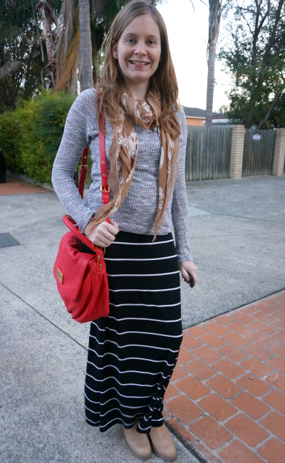 topshop grey knit target stripe maxi skirt acne pistol boots mcqueen skull scarf red bag