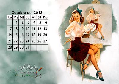 Fondo de pantalla: Calendario pin up 2013: Septiembre | Gil Elvgren