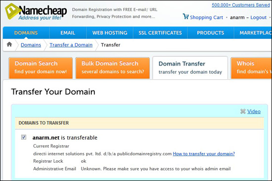 Transfer domain ke Namecheap.com