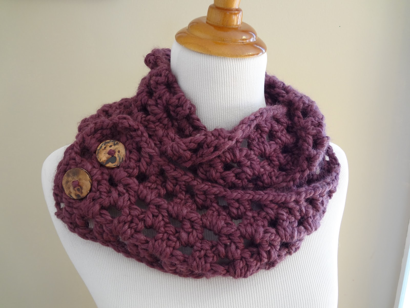 Crochet Scarf Pattern With Button : Fiber Flux: Free Crochet Pattern...Fiona Button Scarf!