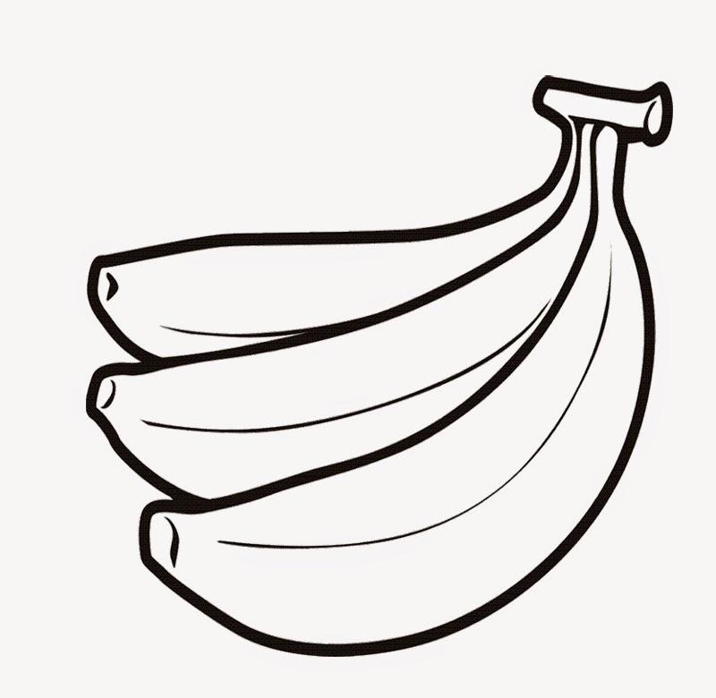 Latihan mewarnai gambar buah pisang