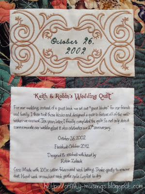 Robin & Keith's Wedding Quilt, label