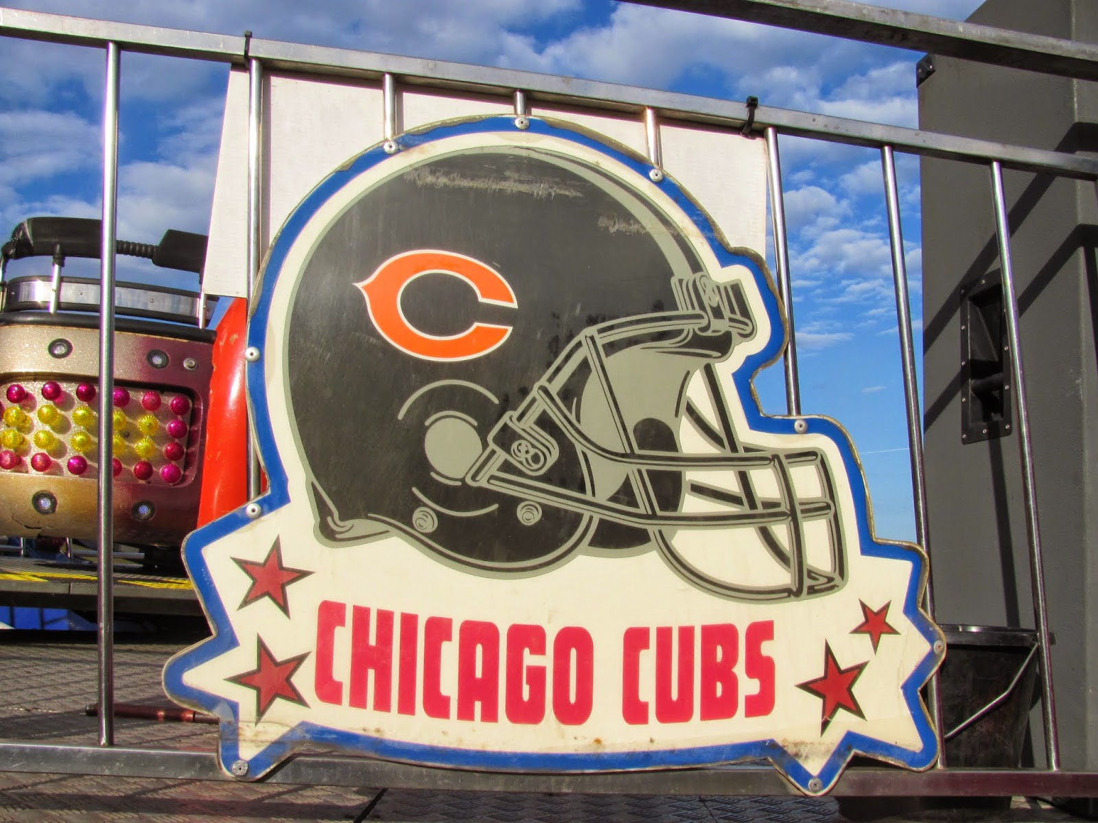 A Chicago Bears helmet labeled Chicago Cubs in Dublin