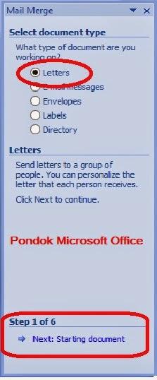 langkah 2 gambar task pane mail merge ms word