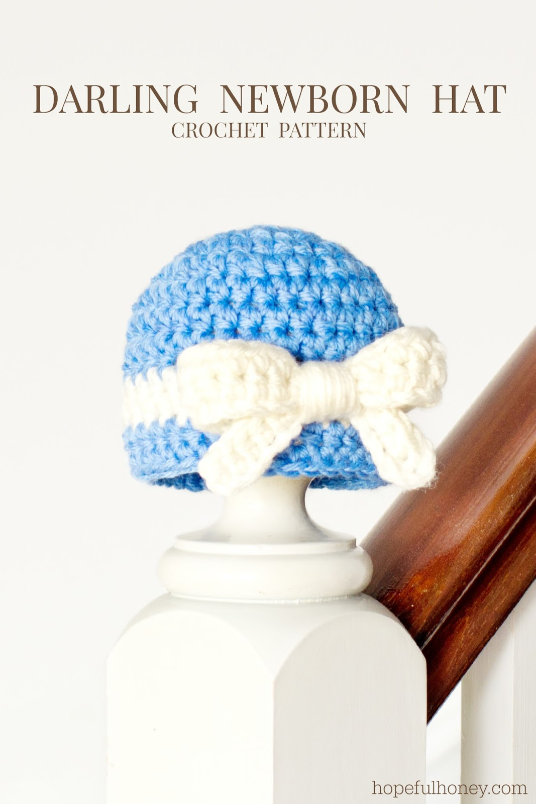 Crochet Baby Hat Pattern With Bow : Hopeful Honey Craft, Crochet, Create: Darling Newborn ...