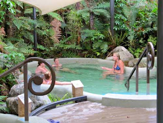 Girls Women Relaxing at Glacier Hot Pools - Franz Josef Glacier