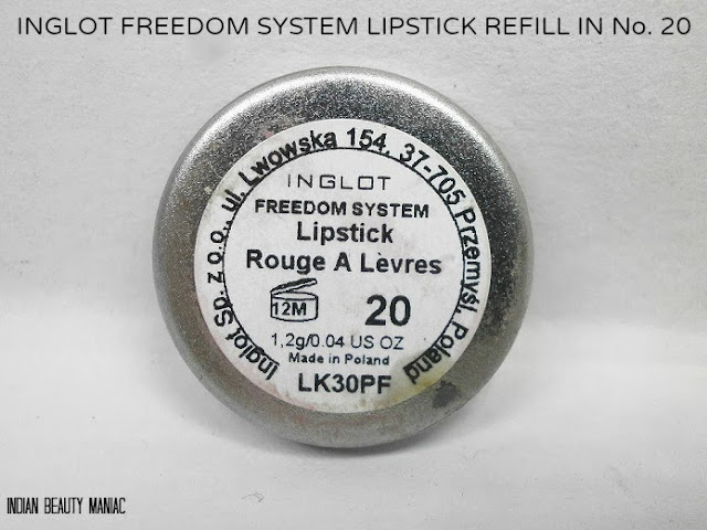 INGLOT Freedom System Lipstick Refill in Shade No 20 Review, swatch and LOTD
