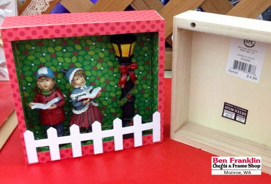 the main supplies youll need are acrylic paint and brushes mod podge medium to adhere your decorative paper and some mini christmas figurines and mini - Wooden Box Christmas Decorations
