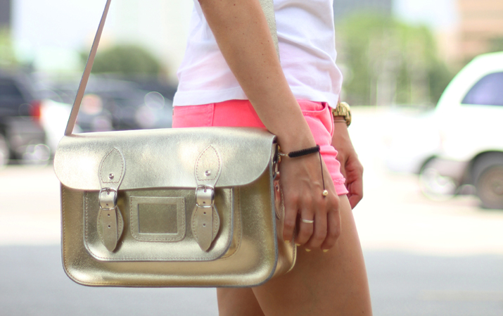 Golden satchel bag at fashion blog by Mónica Sors