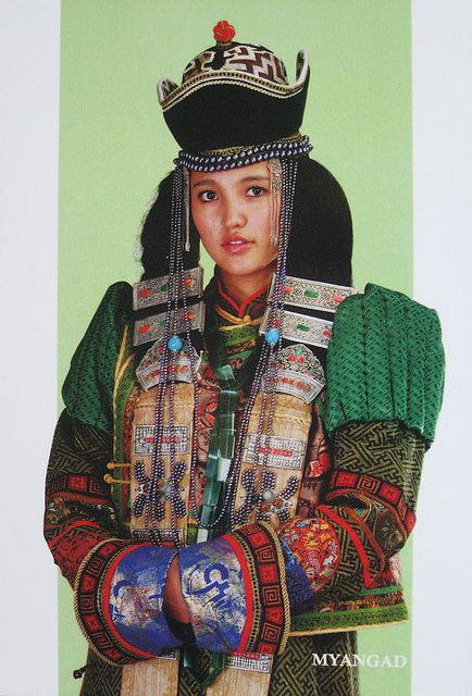 local style traditional headdresses of the mongolian women